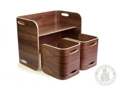 コロコロチェア&デスク ブラックウォールナット 3点セット デスク/テーブル/本棚/ベンチ 子供椅子 ベビーチェア 赤ちゃん椅子 子ども椅子